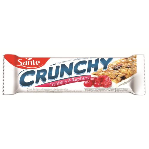 Baton Crunchy z żurawiną i maliną w pol. waniliowej 40g