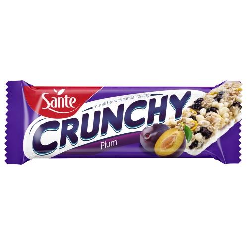 Baton Crunchy ze śliwkami podlany polewą waniliową 40g